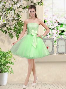 Fantastic Lace Up Dama Dress for Quinceanera Lace and Belt Sleeveless Knee Length