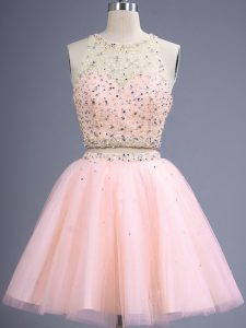 Elegant Peach Lace Up Scoop Beading Quinceanera Dama Dress Tulle Sleeveless