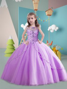 Lavender Child Pageant Dress Scoop Sleeveless Brush Train Lace Up