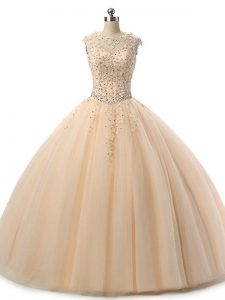 Sleeveless Tulle Floor Length Lace Up Vestidos de Quinceanera in Champagne with Beading and Lace