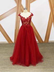 Sleeveless Criss Cross Floor Length Lace and Appliques Dress Like A Star