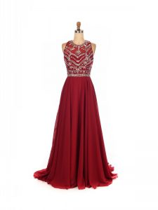 Attractive Sleeveless Brush Train Criss Cross Beading Prom Dresses