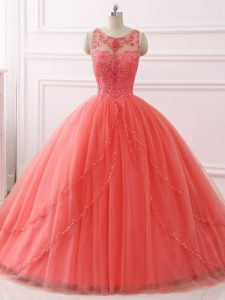Noble Coral Red Sleeveless Beading and Lace Lace Up Sweet 16 Dress