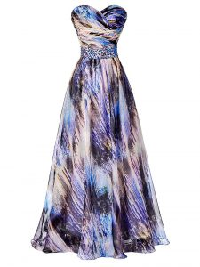 Best A-line Prom Gown Multi-color Sweetheart Printed Sleeveless Side Zipper