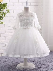 White Short Sleeves Lace Zipper Flower Girl Dresses for Less for Wedding Party