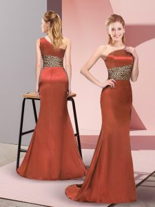 Colorful Elastic Woven Satin One Shoulder Sleeveless Side Zipper Pattern Runway Inspired Dress in Rust Red