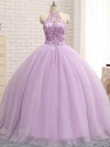 Lilac Ball Gown Prom Dress Halter Top Sleeveless Brush Train Lace Up