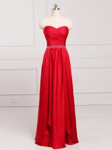 Customized Red Sweetheart Zipper Beading and Belt Court Dresses for Sweet 16 Sleeveless