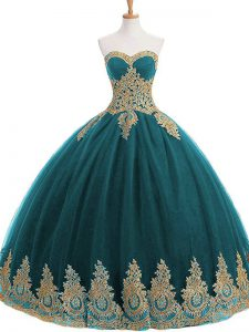 Lovely Floor Length Teal Sweet 16 Dress Sweetheart Sleeveless Lace Up