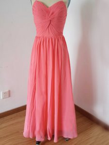Dramatic Watermelon Red Empire Sweetheart Sleeveless Chiffon Floor Length Zipper Ruching Dama Dress for Quinceanera
