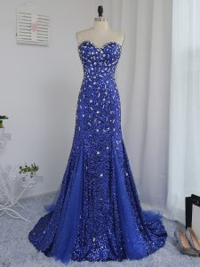 On Sale Sweetheart Sleeveless Brush Train Zipper Evening Dress Royal Blue Tulle and Sequined
