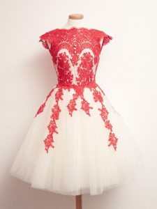 Lovely Sleeveless Mini Length Appliques Lace Up Dama Dress for Quinceanera with White And Red