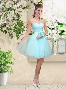 Aqua Blue Tulle Lace Up Court Dresses for Sweet 16 Sleeveless Knee Length Lace and Belt