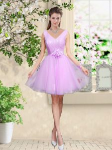 Hot Sale Lace and Belt Wedding Guest Dresses Lilac Lace Up Sleeveless Knee Length