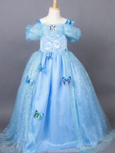 Dazzling Short Sleeves Floor Length Appliques Side Zipper Girls Pageant Dresses with Light Blue