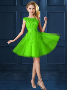 Lace Up Bateau Lace and Appliques Quinceanera Court Dresses Tulle Cap Sleeves