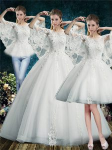 White Wedding Gowns Wedding Party with Lace Scoop Half Sleeves Lace Up
