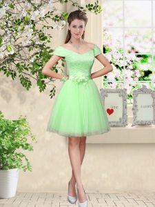 Tulle Cap Sleeves Knee Length Quinceanera Dama Dress and Lace and Belt