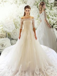 Customized Off The Shoulder Half Sleeves Tulle Wedding Dress Lace Court Train Clasp Handle