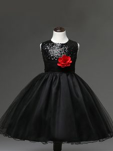Custom Designed Scoop Sleeveless Zipper Flower Girl Dresses Black Tulle