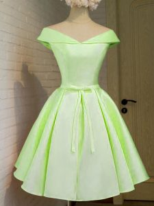 Yellow Green A-line Taffeta Off The Shoulder Cap Sleeves Belt Knee Length Lace Up Wedding Party Dress
