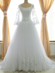 Sleeveless Tulle Brush Train Zipper Wedding Gowns in White with Lace and Appliques