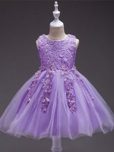 Scoop Sleeveless Tulle Party Dress Appliques Zipper