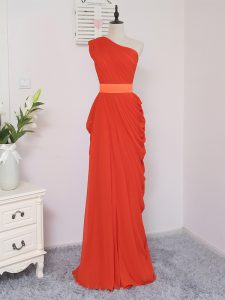 Superior Coral Red Empire One Shoulder Sleeveless Chiffon Floor Length Zipper Pick Ups Damas Dress