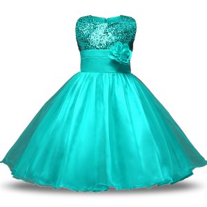 Customized Turquoise Organza and Sequined Zipper Scoop Sleeveless Knee Length Toddler Flower Girl Dress Bowknot and Belt and Hand Made Flower