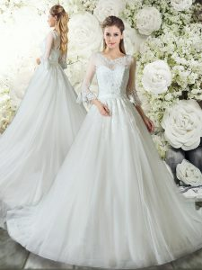 Enchanting A-line 3 4 Length Sleeve White Bridal Gown Court Train Zipper