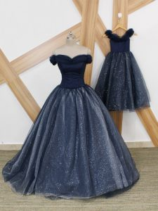 Super Brush Train A-line Homecoming Dress Navy Blue Off The Shoulder Tulle Sleeveless Lace Up