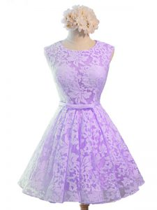 Glorious Belt Damas Dress Lavender Lace Up Sleeveless Knee Length