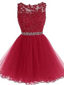 Burgundy Sweetheart Neckline Beading and Lace and Appliques Sleeveless Zipper