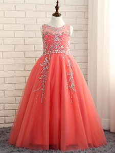 Dazzling Watermelon Red Sleeveless Floor Length Beading Zipper Casual Dresses