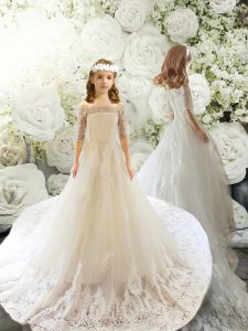 White A-line Lace Flower Girl Dress Clasp Handle Tulle Half Sleeves