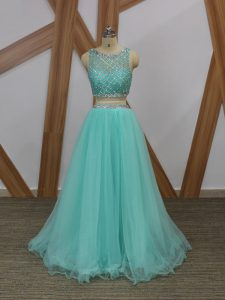 Scoop Sleeveless Side Zipper Prom Dresses Apple Green Tulle