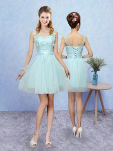 Modern Sleeveless Mini Length Appliques Lace Up Dama Dress for Quinceanera with Aqua Blue