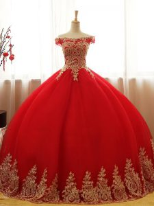 Red Ball Gown Prom Dress Military Ball and Sweet 16 and Quinceanera with Appliques Off The Shoulder Sleeveless Lace Up