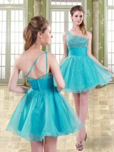 Aqua Blue Organza Zipper Club Wear Sleeveless Mini Length Beading