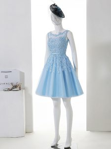New Style Baby Blue Court Dresses for Sweet 16 Prom and Party and Wedding Party with Lace Scoop Sleeveless Zipper