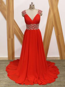 Extravagant Sleeveless Brush Train Backless Beading Evening Dress
