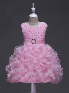 Exquisite Scoop Sleeveless Organza Little Girl Pageant Dress Ruffles and Belt Lace Up