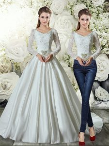 White A-line V-neck Long Sleeves Satin Brush Train Lace Up Beading and Appliques Wedding Dresses