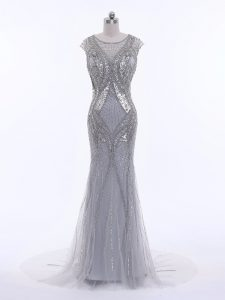Elegant Grey Zipper Evening Wear Beading Cap Sleeves Brush Train