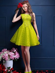 Artistic Yellow Green Bateau Lace Up Beading and Lace Dama Dress Sleeveless