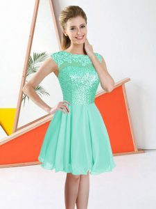 Sumptuous Bateau Sleeveless Quinceanera Dama Dress Knee Length Beading and Lace Turquoise Chiffon