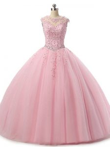 Baby Pink Scoop Lace Up Beading and Lace 15 Quinceanera Dress Sleeveless