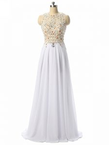 Smart White Scoop Zipper Beading and Lace and Appliques Formal Evening Gowns Sleeveless