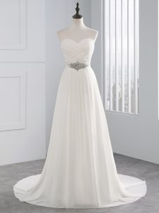 White Lace Up Sweetheart Beading and Ruching Wedding Dress Chiffon Sleeveless Brush Train
