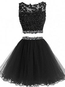 Black Tulle Zipper Prom Evening Gown Sleeveless Mini Length Beading and Lace and Appliques